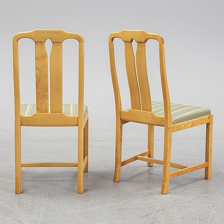 Carl malmsten, a set of six 'ambassadör' chairs and a 'herrgården' dining table, second half of the 20th century.