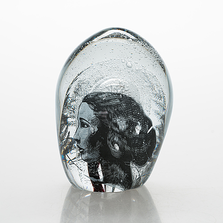 Sini majuri, a glass sculpture 'cell', version 1, signed sini majuri suomenlinna 2021.