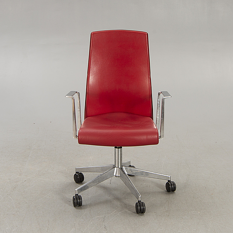 Jorge pensi, a leather and metal office chair for akaba italy  later part of the 20th century.
