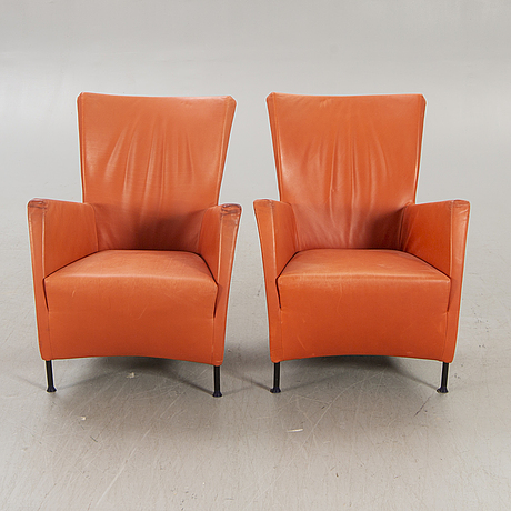 """Gijs papavoine, a pair of """"windy""""leather armchairs for montis neatherlands 1970/80s."""