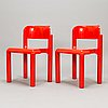 An interior set in red plastic from the 1970s, 7 parts.