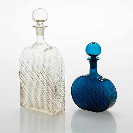 """Nanny still, a 8-piece """"flindari"""" glassware set, riihimäen lasi 1964-1968."""