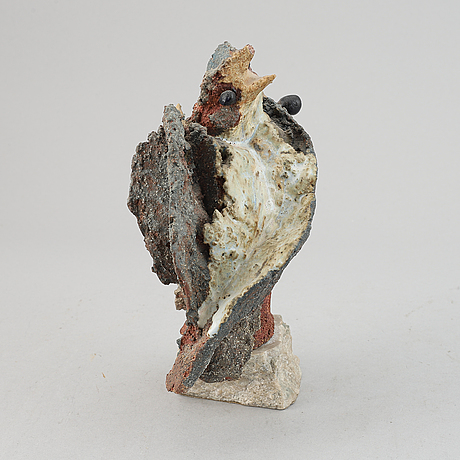 Tyra lundgren, a partly glazed chamotte stoneware sculpture, signed with monogram.
