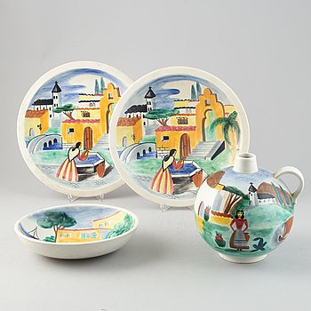 Gunnar Nylund & Heidi Heimann, a set of one ceramic vase, two dishes and a bowl for Rörstrand.