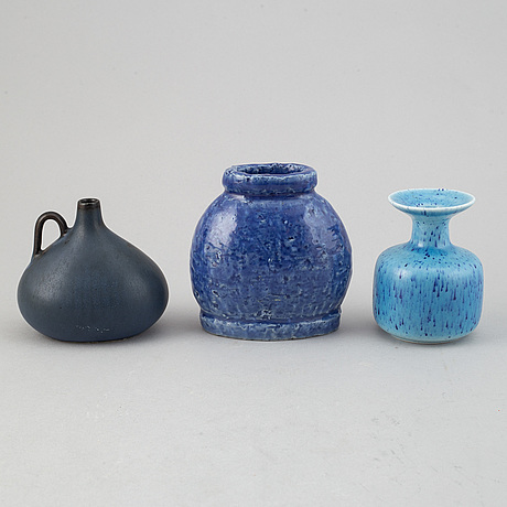 Gunnar nylund, a set of five stoneware vases and a bowl for rörstrand.