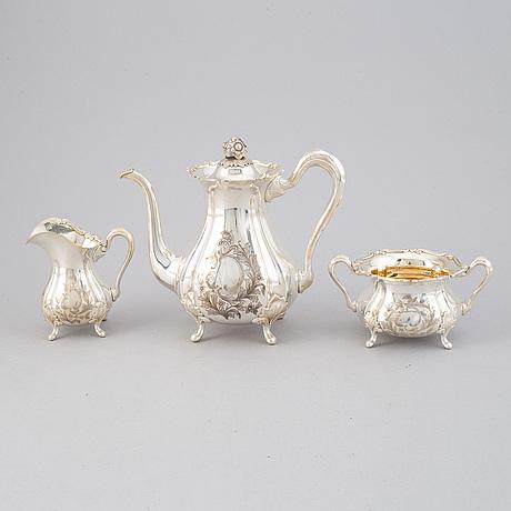 Kaffeservis, 3 delar, silver, auran kultaseppä, åbo 1953.