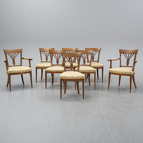 A set of four french directoire chairs and four directoire-style chairs, ca 1800 and 1900 respectively.
