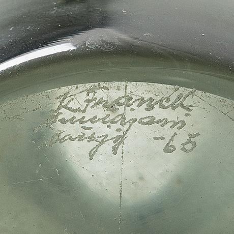 Kaj franck, a glass vase, model kf 260. signed k franck, nuutajärvi notsjö -62.