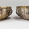 A pair of baroque style silver bowls, cg hallberg, stockholm, 1912.