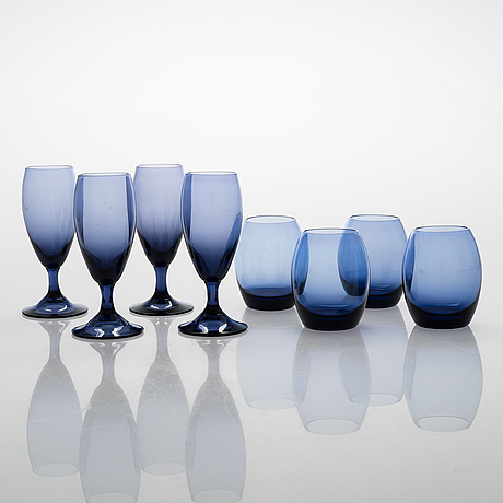 """Helena tynell, a 15-piece glass ware """"penquin"""". riihimäen lasi oy. in production 1964-1965."""