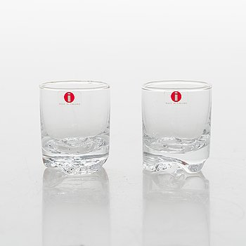 Tapio Wirkkala, Two 4-piece sets of 'Gaissa' schnapps glasses for Iittala, in wooden boxes.