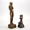 Anders olson, two signed bronze sculptures.