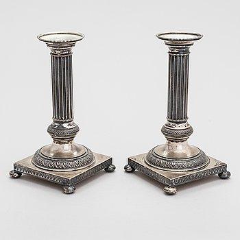 A pair of silver candlesticks, Suomen Hopeaseppä oy, Turku 1950.