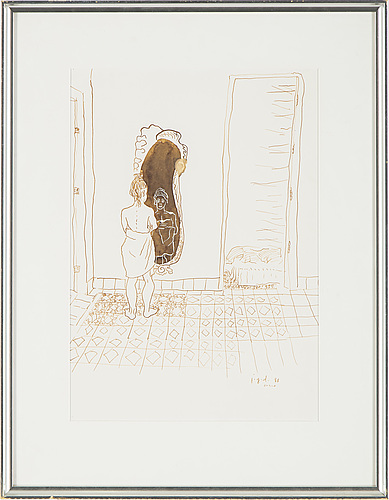 Jiri georg dokoupil, ink on paper, signed and dated 88.