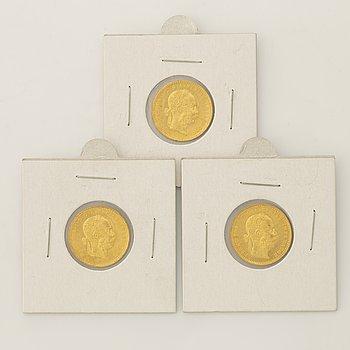 Three Austrian goldcoins, 1915.