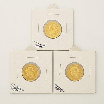 Three Austrian gold coins, 1915.