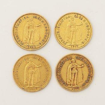 Four goldcoin, 10 Korona, 1894, 1903, 1904 and 1907.