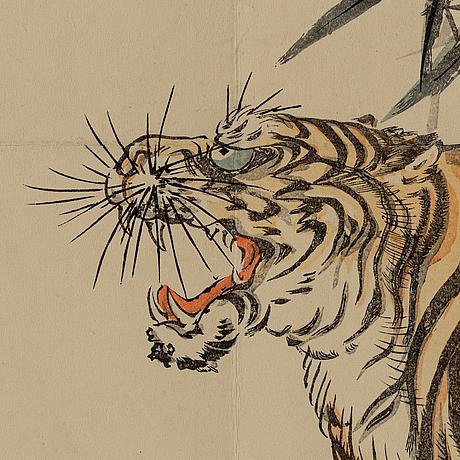 A japanese 'surimono' woodblock print, early 20th century.