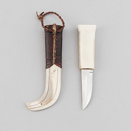 Per erik nilsson, a sami reindeer horn knife, signed.