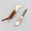 Roland andersson, a sami reindeer horn knife, hedensbyn, överkalix, signed.