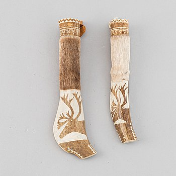 Two Sami reinderhorn knives, unidentified monogram signature.