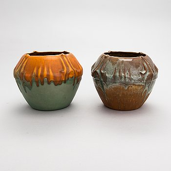 A pair of Art Nouveau ceramic vases, model 131, Turku Finland, early 20th century.