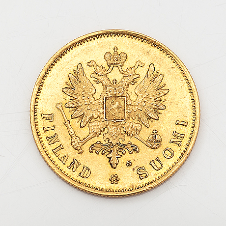 A gold coin, 10 marks, finland 1879.