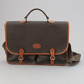 Mulberry, a scotchgrain briefcase.