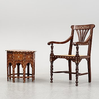 A Middle-Eastern occasional table and armchair, 20th Century.
