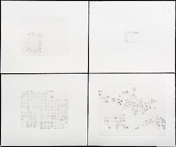 Sandrine Guerin, a set of four etchings signed and dated & 6/27 SG 2002.