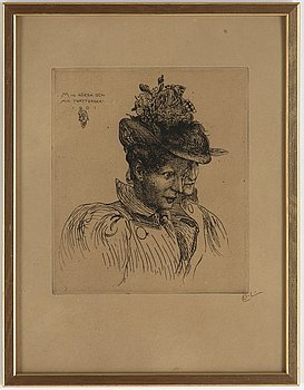 Carl Larsson, etching, 1901, signed.