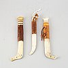 Three sami reindeer horn knives, unidentified signatures.