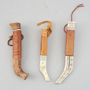 Three Sami knives, unidentified signatures.