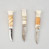 Three sami reindeer horn knives, unsigned.