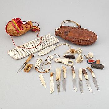 Samling samiskt hantverk, 19 delar.