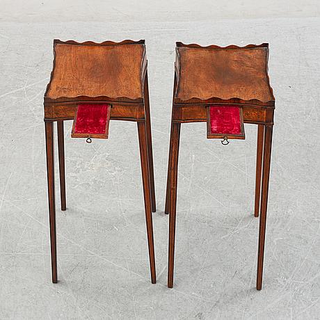 A pair of mahogany drinks tables, england, 19th century.