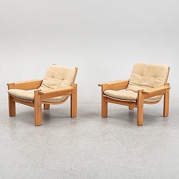 Yngve Ekström, a pair of 1960's/70's 'Kontra' easy chairs for Swedese Möbler AB.