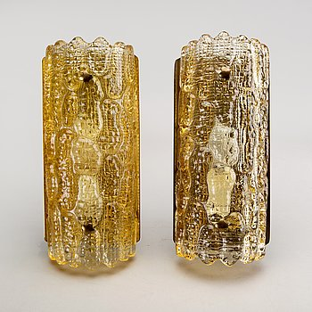 Carl Fagerlund, a pair of glass and brass wall scones.