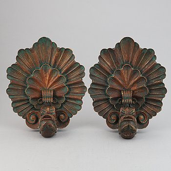 """Matts """"i Taserud"""" Eriksson, a pair of wood wall sconces, signed and dated 1936."""
