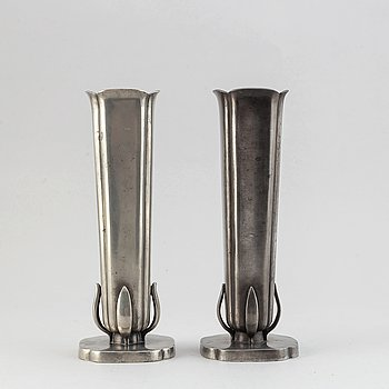 A pair of pewter vases from GAB, Stockholm, 1939.