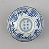 A set of 15 chinese blue and white porcelain bowls, cups and dishes, qing dynasty, 17th-19th century.