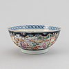 A chinese porcelain mandarin bowl, a plate, dessert dish and teapot, qing dynasty, qianlong (1736-95) and 19th century.