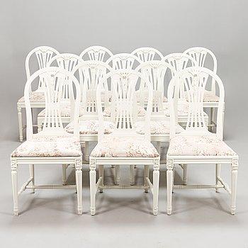 Twelve Gustavian style chairs, late 20th century.