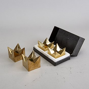 Pierre Forssell, a set of four brass candle sticks for Skultuna later part of the 20th century.