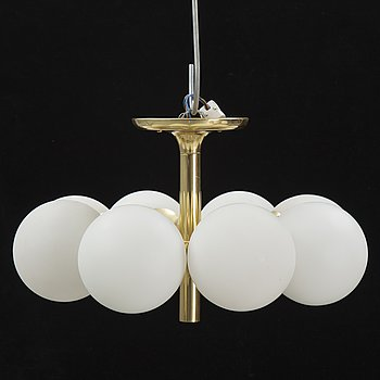 A glass and brass ceiling light, Kaiser Leuchten, Germany, second half of the 20th Century.