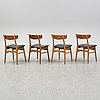Four beech and teak chairs from farstrup, denmark, 1950's/60's.