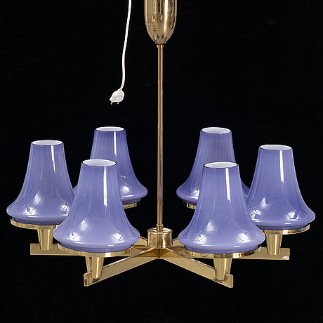 A brass pendant lamp by hans-agne jakobsson, 1970's.