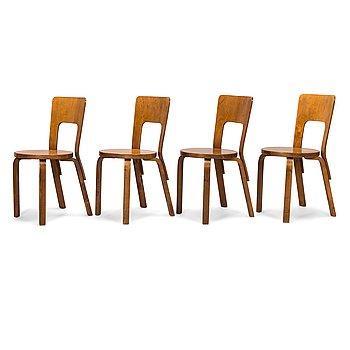 Alvar Aalto, four '66' chairs, O.Y. Huonekalu-ja Rakennustyötehdas A.B. Finland, 1930's/1940's.