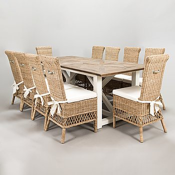 Riviéra Maison Chateau Chassigny dining table and 10 chairs.
