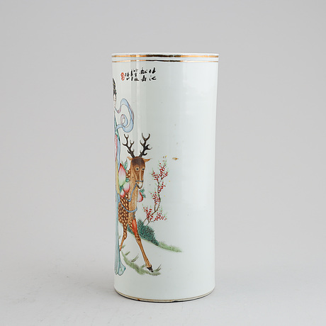 Two chinese porcelain vases or hat stands, one converted to a table lamp, mid 20th century.